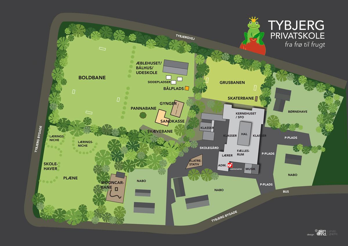Oversigtskort over Tybjerg Privatskole